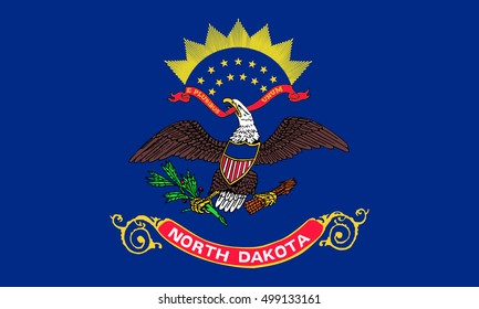 North Dakotan official flag, symbol. American patriotic element. USA banner. United States of America background. Flag of the US state of North Dakota in correct size and colors, illustration