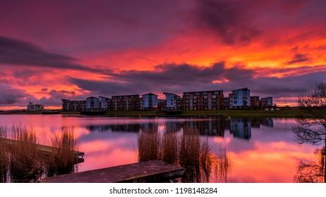 North Dock sunset Llanelli Carmarthenshire Wales