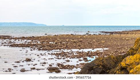 North Down Coastline, Northern Ireland. Rocks, sand and the shore between Belfast and Bangor.