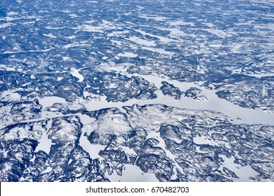 North East Canada from high above / Arctic lands of Newfoundland / eternal ice of Polar Region