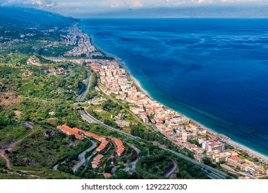 North east coast of Sicily as seen from the road to Forza d'Agro