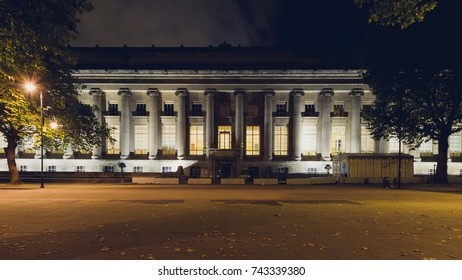 North Facade of The British Museum in London by night, Row of Ionic Columns