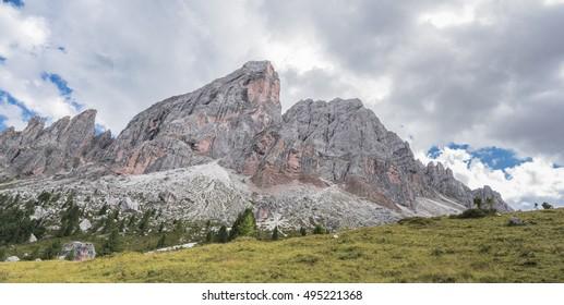 North face close up of Sass de Putia mountain as seen from the end of Roda de Putia (Putia road) circle around Sass de Putia, nearby  Passo (pass) delle Erbe, Dolomites, Trentino, South Tyrol,  Italy
