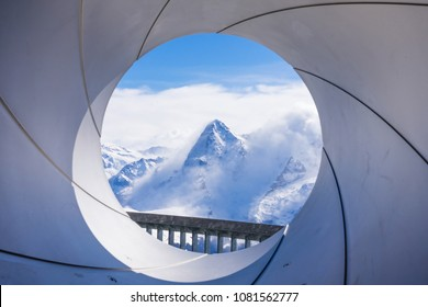 The north face of the Eiger, seen from the Schilthorn mountain near Murren in Switzerland