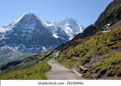 The North Face of the Eiger viewed from the track from Mannlichen, in the Swiss Alps near Interlaken. These tracks, although high, are accessible to all those with a reasonable fitness.