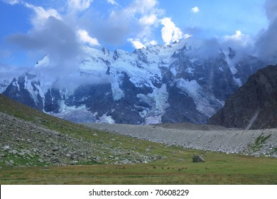north face of mount Dykh-tau. It is second highest mountain in Europe. Its height 5206 meters