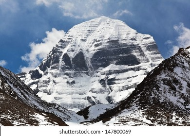 North Face of Mount Kailash (elevation 6638 m), which are part of the Transhimalaya in Tibet. It is considered a sacred place in four religions: Bon, Buddhism, Hinduism and Jainism