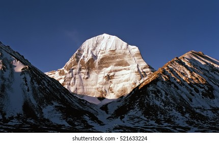 The North Face of Mount Kailash in sunrise time.