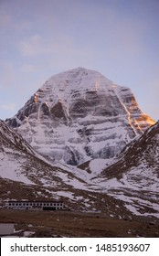 North Face wall of Kailash - the most mystical, mysterious and sacred mountain in Tibet. Sacred place for Buddha pupils making piligrimage in Asia. Place of prayer, calm and meditation.