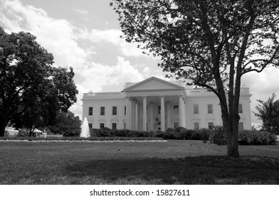 The north face of the White House in Washington, DC, on a summer afternoon.
