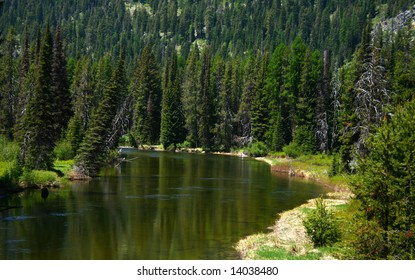 North fork of the Payette River as it heads into Payette Lake, McCall Idaho