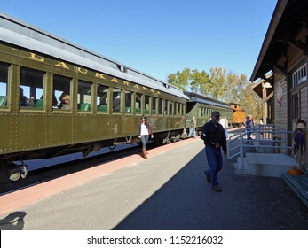 NORTH FREEDOM, WISCONSIN / USA - October 11, 2014: Pullman Lackawana train passenger car at the Mid-Continent Railway Museum