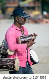 North Goa, Arambol, Mandrem / India - December 2018: Goan street vendors usually offer handmade jewelry and small souvenirs
