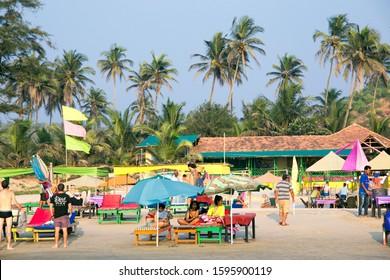 North Goa, Arambol, Mandrem / India - December 2018: infrastructure for beach holidays; cafes, hotels, shopping malls