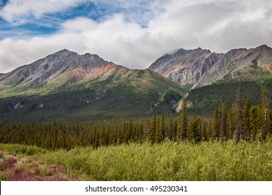 North of Haines Junction heading towards Kluane Lake- Yukon Territory- Canada This section of the Alaska Highway is spectacular: mountains to the west, Kluane Lake to the east.