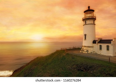 North Head Lighthouse in Ilwaco Washington State during sunset