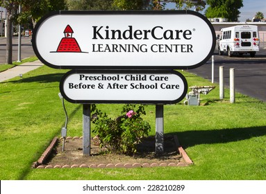 NORTH HILLS, CA/USA - OCTOBER 30, 2014: KinderCare Learning Center sign and exterior.KinderCare Learning Centers is an American operator of child care and early childhood education.