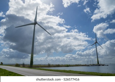 NORTH HOLLAND, NETHERLANDS - APRIL 18, 2016: Wind turbines at the shore of Markermeer.