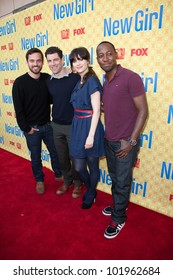 NORTH HOLLYWOOD, CA - MAY 07: Jake M. Johnson, Max Greenfield, Zooey Deschanel & Lamorne Morris arrive to the screening of Fox's 'New Girl' at the Goldenson Theatre on May 7, 2012 in N. Hollywood, CA