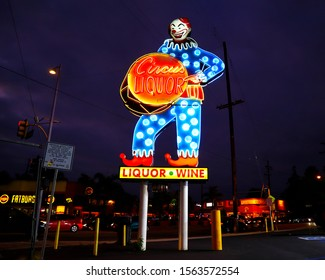 North Hollywood, California - September 27, 2019: Circus Liquor Store on Vineland Avenue, North Hollywood, Los Angeles. Also known a famous location for many movies