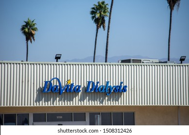 North Hollywood, California / USA -  September 18, 2019: Davita Dialysis serves the community in and and around historical Valley Plaza shopping center.