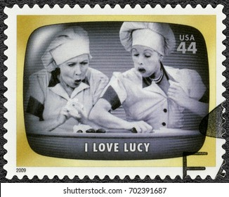NORTH HOLLYWOOD, UNITED STATES OF AMERICA - AUGUST 11, 2009: A stamp printed in USA shows I Love Lucy, American television sitcom, Early TV Memory, 2009