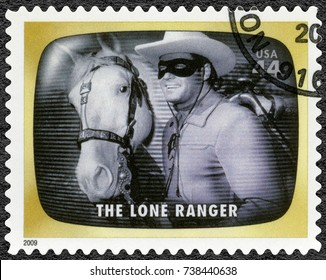 NORTH HOLLYWOOD, UNITED STATES OF AMERICA - AUGUST 11, 2009: A stamp printed in USA shows The Lone Ranger, Early TV Memory, 2009