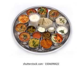 North India Food Thali. Isolated on a White Background. Selective Focus.