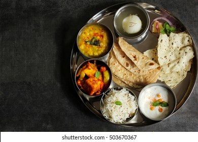 North Indian Vegetarian Thali To down view with copy space