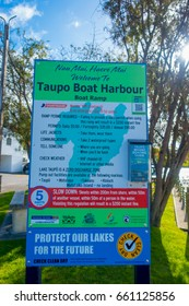 NORTH ISLAND, NEW ZEALAND- MAY 18, 2017: An informative sign of Taupo Boat Harbour, boat ramp located at Taupo,New Zealand