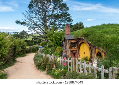 North Island, New Zealand- November 2017; Hobbit house or hobbit hole at Hobbiton, a movie set created for the filming of the Lord of the Rings and The Hobbit movies.