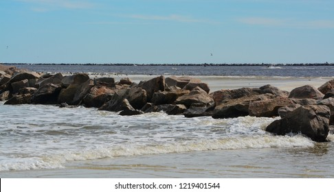 North Jetty at Huguenot Memorial Park in Duval County, Atlantic Ocean, Florida
