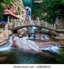 North Jiu Shui Chaoyin Waterfall, Laoshan Scenic Area, Qingdao, Shandong, China
