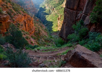 North Kaibab trail and Redwall bridge in Roaring Springs Canyon from Supai Tunnel North Rim, Grand Canyon National Park, Arizona, USA