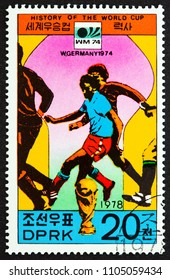 "NORTH KOREA - CIRCA 1978: A stamp printed in North Korea from the ""History of the World Cup"" issue shows West Germany, 1974, circa 1978."