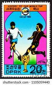 "NORTH KOREA - CIRCA 1978: A stamp printed in North Korea from the ""History of the World Cup"" issue shows Chile, 1962, circa 1978."