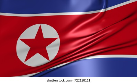 North Korea crease flag 3d rendering.