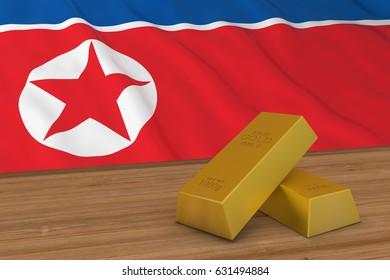 North Korea Finance Concept - Gold Bars in front of North Korean Flag 3D Illustration