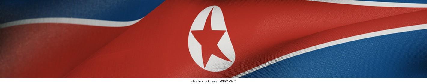 North Korea Flag, North Korean Flag Realistic Panoramic 3D Illustration