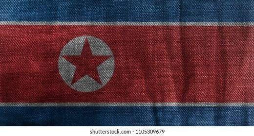 North Korea Flag On Jeans Denim Texture