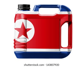 The North Korea flag  painted on gas can