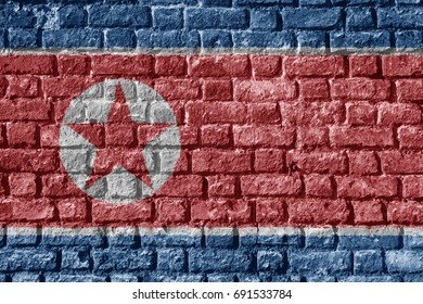 North Korea Flag Painted on brick wall