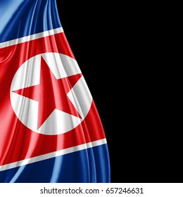 North Korea flag  of silk with copyspace for your text or images and black background-3D illustration