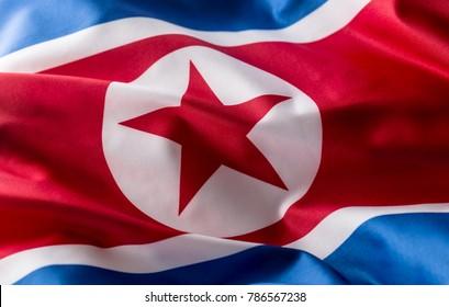 North Korea flag waving in the wind.