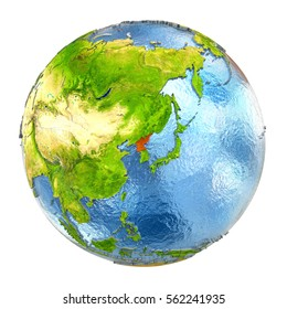 North Korea highlighted in red on Earth. 3D illustration with highly detailed realistic planet surface isolated on white background. Elements of this image furnished by NASA.