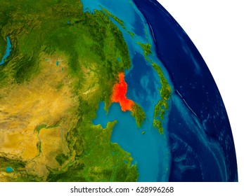 North Korea highlighted in red on detailed model of planet Earth. 3D illustration. Elements of this image furnished by NASA.
