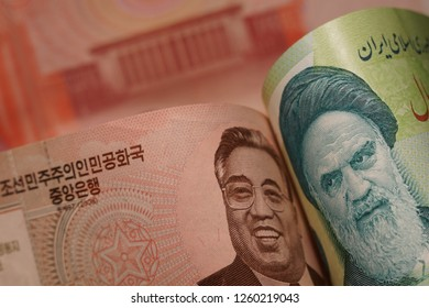 North Korea and Iran, through their leaders, symbolize economic and political cooperation in the Asian region. Publications about politics and international relations. Iran and North Korea money.