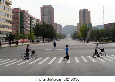 NORTH KOREA, KAESONG - SEPTEMBER 22: City center at september 22, 2016 in Kaesong, North Korea. Empty streets of the closest city to South Korea.