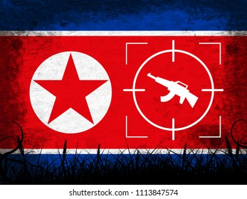 North Korea Military And Flag 3d Illustration. Korean Infantry Confrontation Or Battle Force Weapons For Battle By NK
