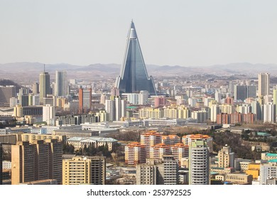 North Korea, Pyongyang, April, 2012 - View of the city from above.Ryugyong Hotel